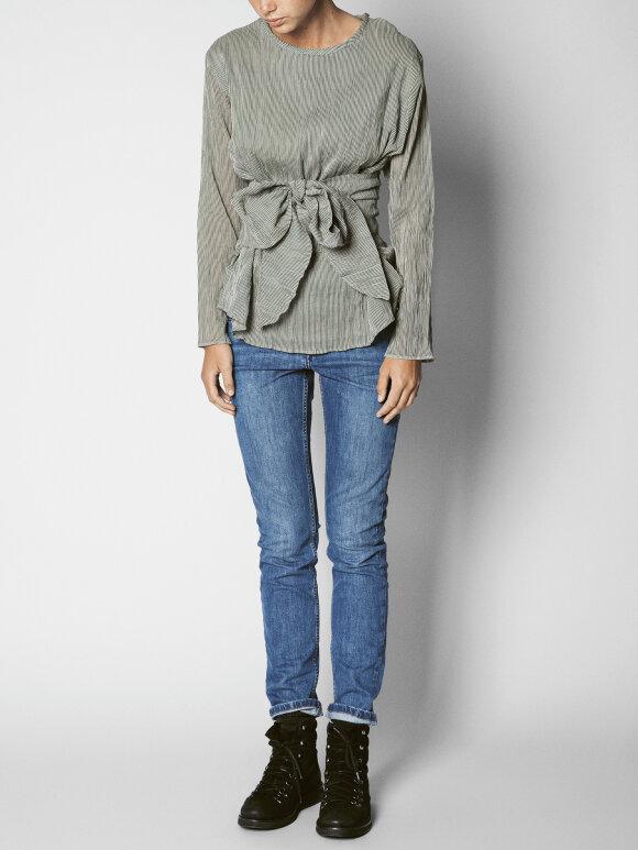 AIAYU - wrap blouse gaze stripe