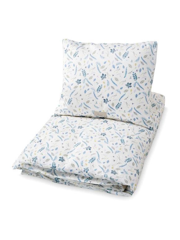 Cam Cam - Baby sengetøj, 70x100 leaves blue