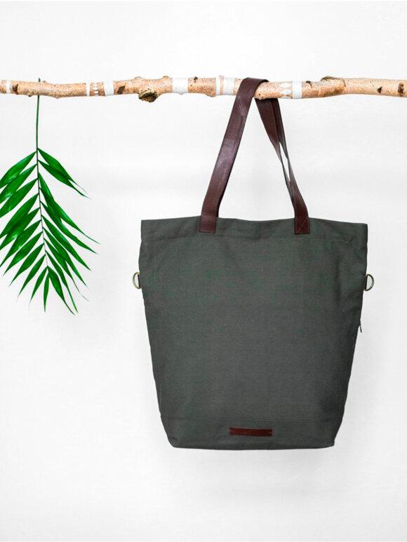 Mara Mea - pusletaske olivengrøn m. læderstropper