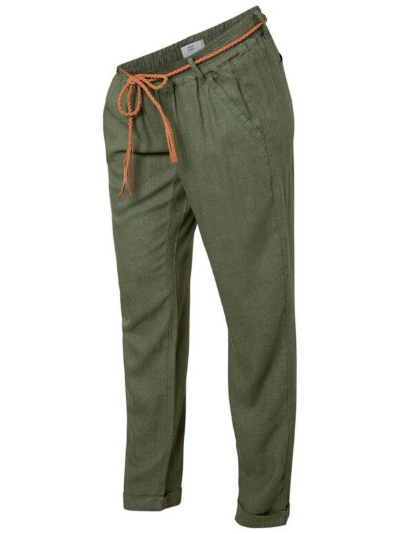 Mamalicious - Beach Belt Woven Pants, Thyme