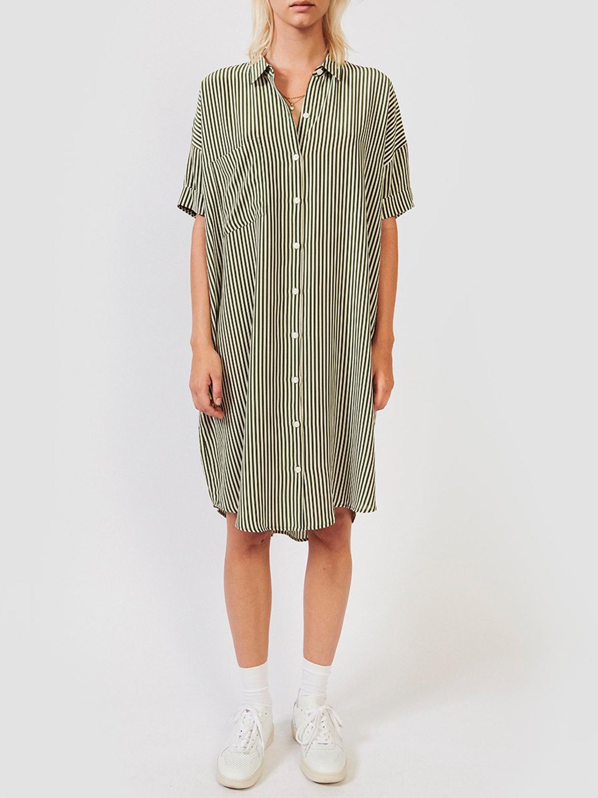 5372f0ea6b4f Enula9 - Gravid kjoler - Kokoon - Daisy shirt dress - Moss Green Stripe