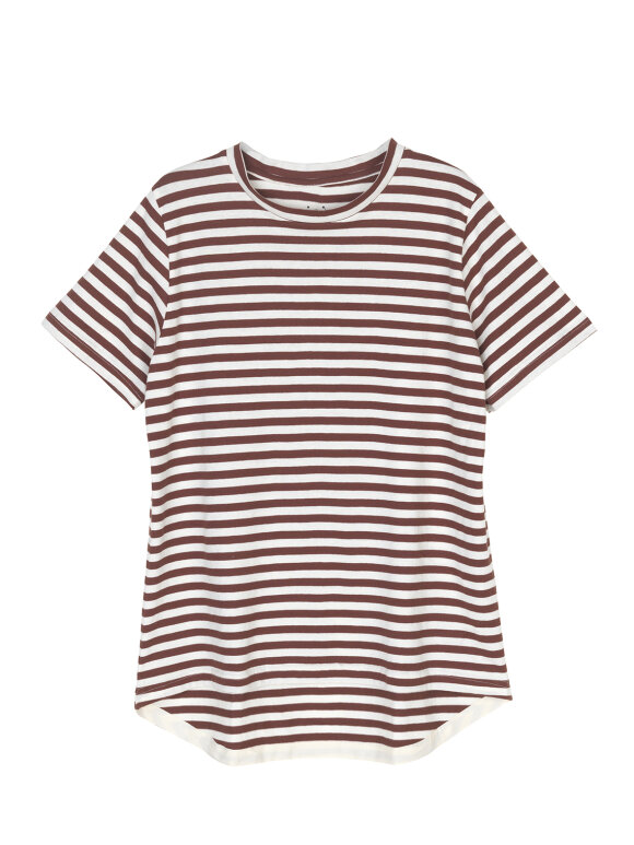 AIAYU - Short sleeve tee, striped bordeaux