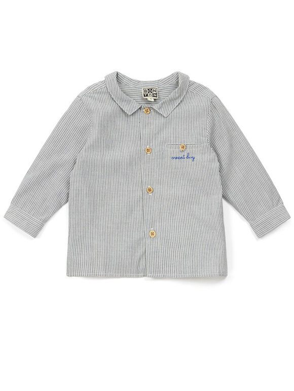 Bonton - Baby shirt blue striped