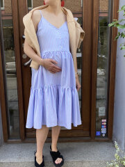 Mads Nørgaard - Stripy Visco Ditza kjole, Pastel Purple Stripe
