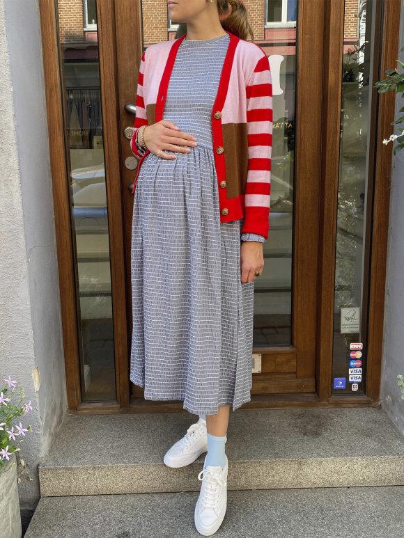 Mads Nørgaard - Flexi Pop Docca kjole, Navy/white