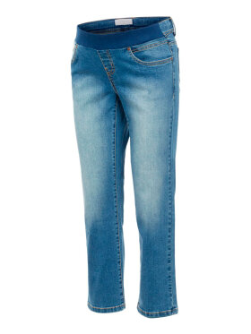 Mamalicious - Marbella Rib Cropped Mom Jeans, Medium Blue