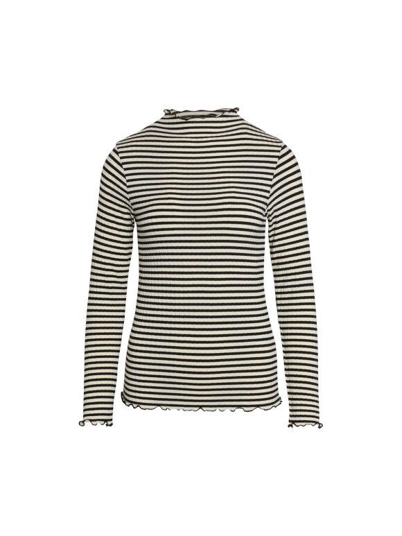 Mads Nørgaard - 5x5 Stripe Mix Trutte bluse - Off White/Black