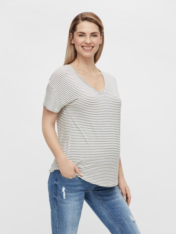 Mamalicious - Alison Mix S/S Jersey top 2-pack, Sort/Hvid