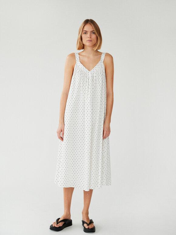 Mads Nørgaard - Cotton Seersucker Danna kjole, White/Black