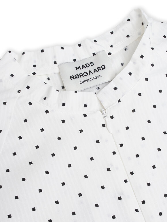 Mads Nørgaard - Cotton Seersucker Dupina kjole, White/Black