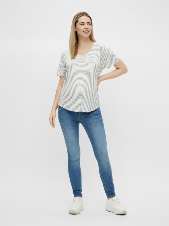 Mamalicious - Alison Mix S/S Jersey top 2-pack, Navy/Hvid