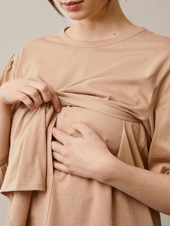 Boob - The-shirt blouse - sand