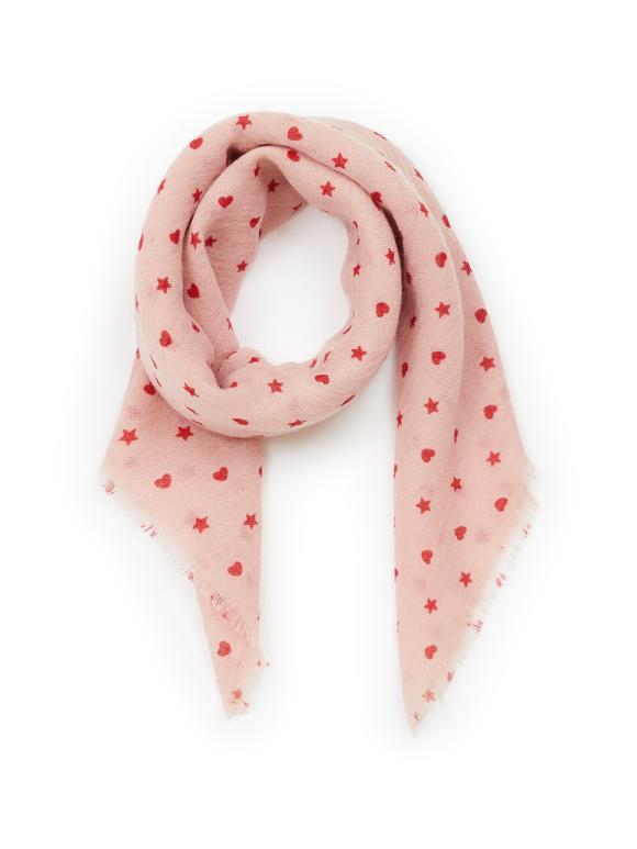 Bonton - Tørklæde i uld - hjerter og stjerner