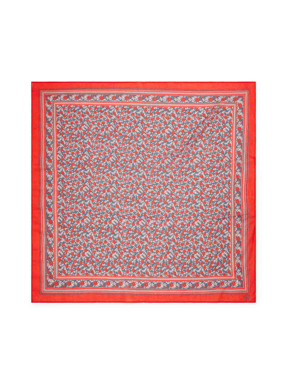 Bonton - Tørklæde med blomster - rød/blå