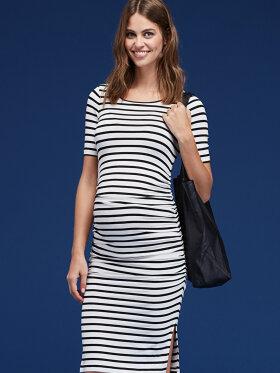 Isabella Oliver - Nia ruched t.shirt kjole sort hvid