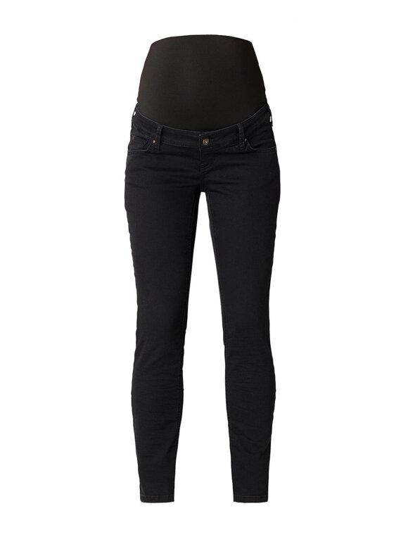 Queen Mum - Gravid jeans, sort straight leg,3505/luna