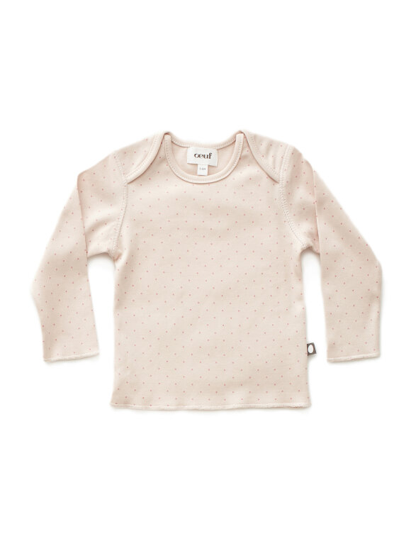 Oeuf NYC - Baby tee LS pink/rose dots
